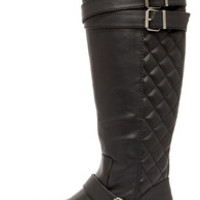 Madden Girl Calinda Black Quilted Riding Boots