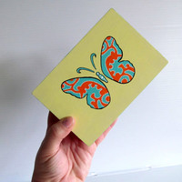 Butterfly Hand Painted Box: Small Box with hinged lid Yellow blue orange soft yellow and white hand painted Butterfly jewelry box
