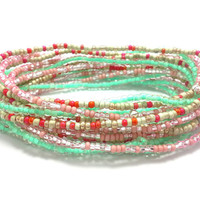 3 Stretch seed bead wrap bracelets, stacking, beaded, boho anklet, bohemian, stretchy stackable multi strand, pink, red, mint green gold