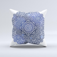 The Dark Blue Indian Ornament ink-Fuzed Decorative Throw Pillow
