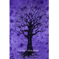 Purple Small Desert Tree of Life Tie Dye Tapestry Wall Hanging Bedding on RoyalFurnish.com