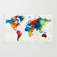 World Map 19 - Colorful Art By Sharon Cumming Rug by Sharon Cummings