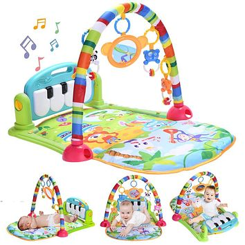 Baby Piano Play Gym Mat, Kick and Play Baby Activity Gym with Music and Lights, Baby Play Mats for Infants and Toddlers Aged 0 to 3 6 9 12 Months Old Green