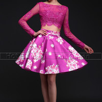 Two piece Short Prom Dresses Lace Long Sleeve Flower Print Open Back Pleat Evening Gown Formal Prom Dress