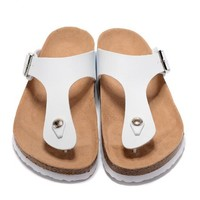 Birkenstock New Style 4 Summer Fashion Leather Cork Flats Beach Lovers Slippers Casual Sandals For Women Men Couples Slippers triple White