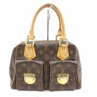 Authentic Louis Vuitton Hand Bag ManhattanPM M40026 Browns Monogram 27545