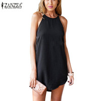5 Colors S-3XL 2015 Fashion Women Summer Dress O-Neck Sleeveless Off Shoulder Casual Loose Mini Party Plus Size Sexy Vestidos