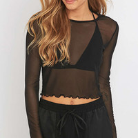 Light Before Dark Cropped Mesh Lettuce Edge Top - Urban Outfitters