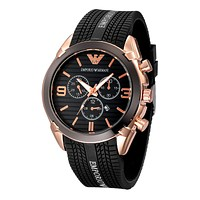 Emporio Armani exquisite fashion tires alphabet watch F-PS-XSDZBSH Black