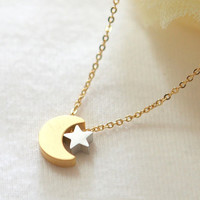 Crescent moon and tiny star necklace by laonato on Etsy