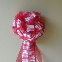 Christmas Tree Topper Bow- Red and White Stripe Mesh Bow- Christmas Decoration- Christmas Wreath Bow- Stair Rail Door Mailbox Decoration