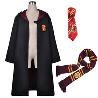 Cool Harri Potter Robe Cape Cloak with Tie Scarf Ravenclaw/Gryffindor/Hufflepuff/Slytherin Cosplay Costumes Malfoy Hermione SuitAT_93_12