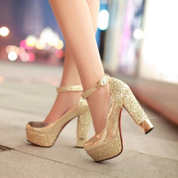 Luxury Glitter Square Heel Ankle Strap Women Pumps Elegant Platform High Heels Women Wedding Shoes Ladies Evening Party Shoes