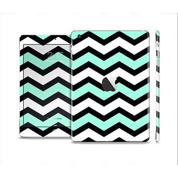 The Teal & Black Wide Chevron Pattern Full Body Skin Set for the Apple iPad Mini 2