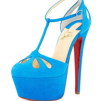 Mayada T-Strap Platform Red Sole Pump, Blue - Christian Louboutin