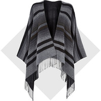 River Island Womens Dark grey stripe blanket cape