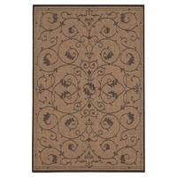 2' X 3'7 Floret Floral Vines Area Rug In Brown Cocoa Black