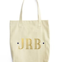Gold Monogram Canvas Tote - Cotton Canvas Tote Bag - Market tote - Farmers Market bag - welcome bag - wedding gift - Preppy Monogram