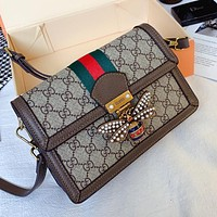 GUCCI Simple Women's Wild Little Bee Wide Shoulder Shoulder Bag Crossbody Bag