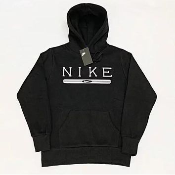 NIKE Trending Women Men Casual Velvet Hoodie Sweater Top Sweatshirt Black