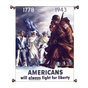 Americans will Always Fight for Liberty Picture on Canvas Hung on Copper Rod, Ready to Hang, Wall Art Décor