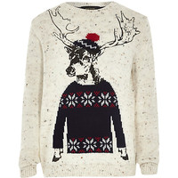 River Island Boys stone deer print sweater