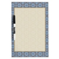 Vintage Geometric Floral in Gray and Light Blue Dry-Erase Board
