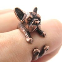 French Bulldog Puppy Dog Animal Wrap Around Ring in Copper - Sizes 4 to 9