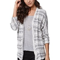 LA Hearts Marled Open Cardigan - Womens Sweater - Gray/White