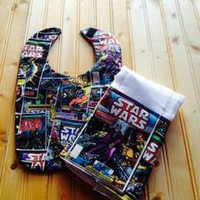 star wars baby bib and burp cloth set