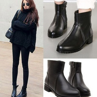 2015 New England low-heeled boots thick with Martin boots with zipper boots female boots in Europe and America boots = 1747749636