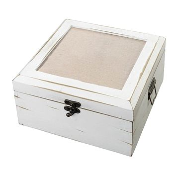 Antique White Wood Card Box