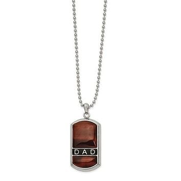 """Stainless Steel Polished Enameled Tiger's Eye DAD Dog Tag 22"""" Necklace"""