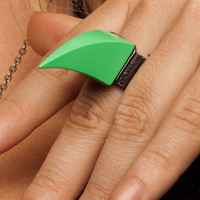 Huge Mint Green Claw Spike Ring