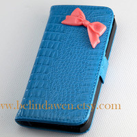 Iphone 5 Case, bow iphone 5 case, Crocodile pu leathe iphone Case, pink bow iphone case