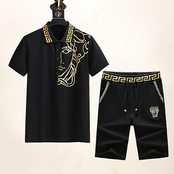 Versace Cotton Polo Shirt Top + Embroidered Logo Shorts Casual Two-Piece Set