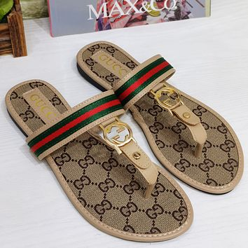 GG woven embroidery ladies personality flip flops sandals slippers Shoes Khaki