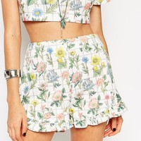 ASOS Reclaimed Vintage CO-ORD Shorts With Frill In Textured Floral