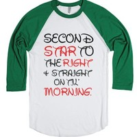 Second Star To The Right-Unisex White/Evergreen T-Shirt