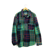 90s WOOL Plaid Flannel Shirt AUTUMNAL Mens Green Navy Red Oversized Heavy Wool Fall Shirt Flannel Workwear Rugged Mens Work Shirt Large