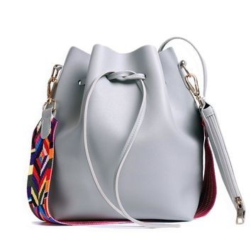 Colorful Strap PU Leather Bucket Bag