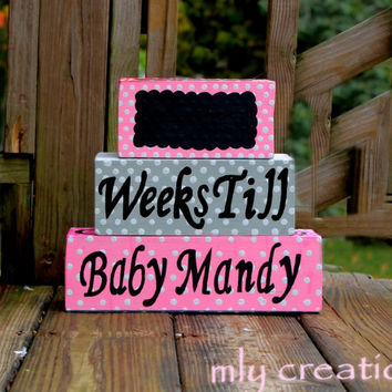 Baby countdown blocks, maternity countdown, baby countdown, wooden blocks, birth announcement, pregnancy countdown, grandparents git, shower