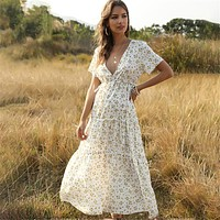Beach Holiday Dress Women Casual Floral Print Elegant  Long Dress Ruffle Short-sleeve V-neck Sexy Party Robe