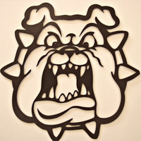 Bulldog With Spiked Collar Cnc Plasma Metal Wall Sculpture