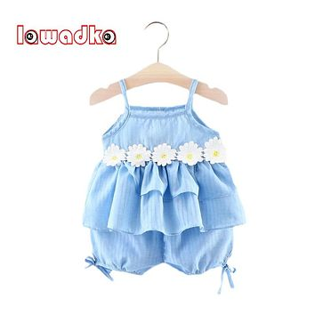 Girl Sleeveless Cotton Flower Clothes Sets