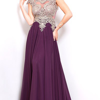 Long Embroidered Chiffon Prom Dress by Shail K