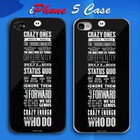 Steve Jobs Crazy One Quote Custom iPhone 5 Case Cover from namina