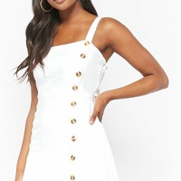 Mock Button-Front Mini Dress