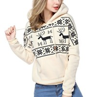 TopStyliShop Woman's Deers and Stripes Pattern Hoodie Sweatshirt D1126
