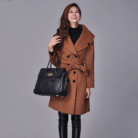 women jacket coat, 2 colour brown/red wool coat double breasted long jacket with belt and shoulder neck broad collar.